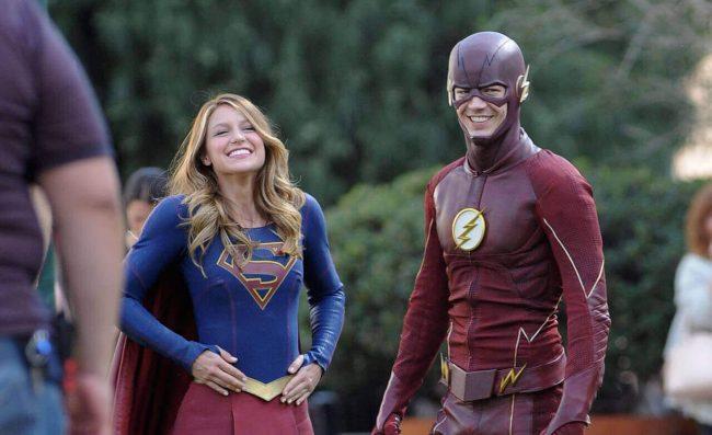 """Supergirl"" Melissa Benoist meets Flash Grant Gustin Flash Supergirl"