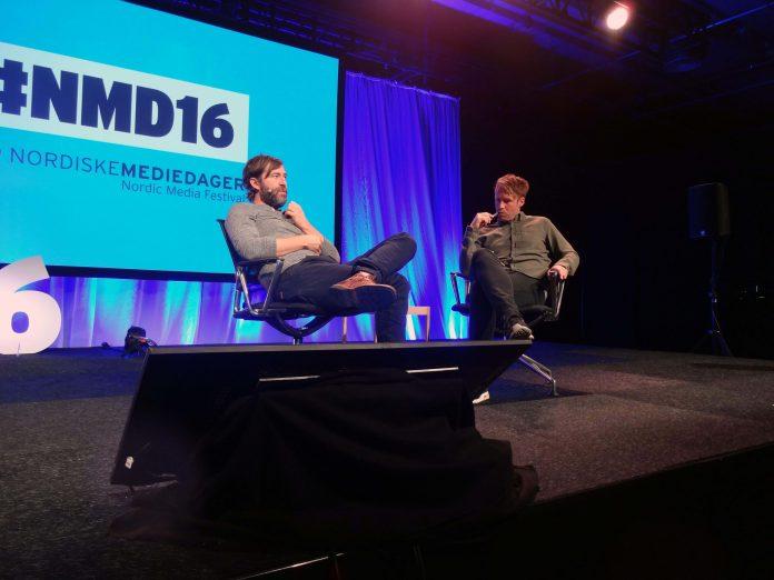 I 2016 var det Mark Duplass som var et av trekkplasterne på NMD, her avbildet sammen med Thomas Seeberg Torjussen. Foto: Serienytt