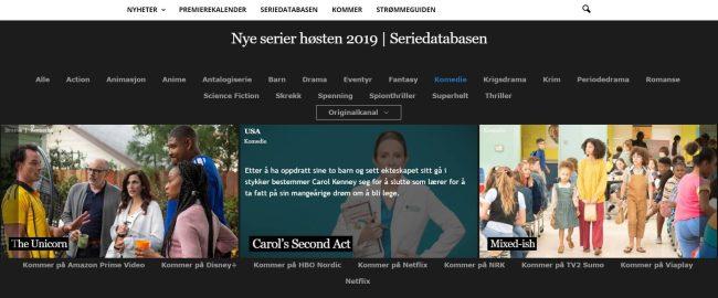 Nye serier høsten 2019