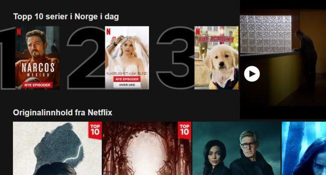 Topp ti Netflix. Foto: Skjermdump